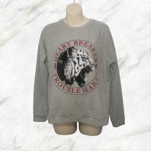 NOISY MAY grey graphic pullover sweater small